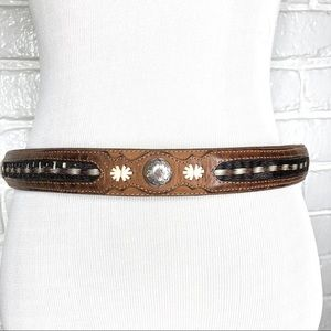 Justin Leather &Horse hair belt W/ silver size 32